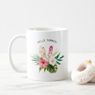 Fleurs tropicales d'aquarelle, feuille avec la mug