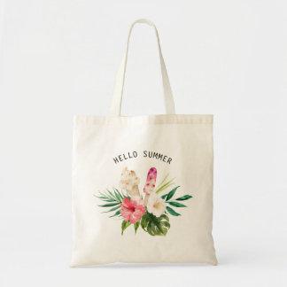 Fleurs tropicales d'aquarelle, feuille avec la sac en toile budget
