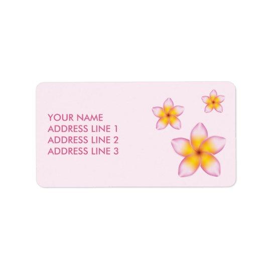 Fleurs tropicales roses de Plumeria et information Étiquette D'adresse