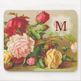 Fleurs victoriennes vintages de bouquet de roses tapis de souris