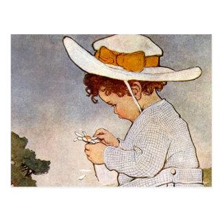 Fleurs vintages de marguerite de cueillette carte postale