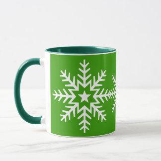 Flocon de neige blanc géant sur la tasse verte