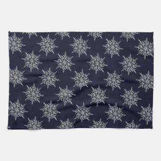 Flocon de neige bleu de Noël de serviette de