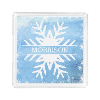 Flocon de neige d'aquarelle de vacances d'hiver plateau en acrylique