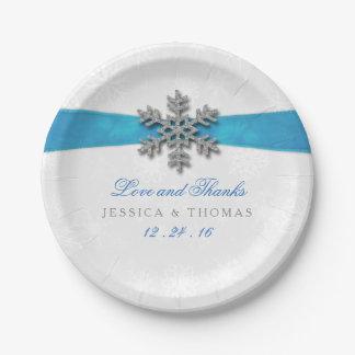 Flocon de neige de Diamante et mariage d'hiver de Assiettes En Papier