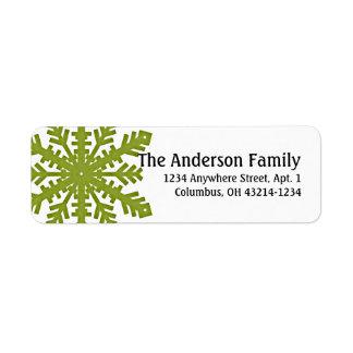 Flocon de neige du vert 1 : : Étiquettes adresse