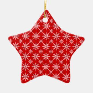 Flocons de neige blancs de Noël classique sur le Ornement Étoile En Céramique