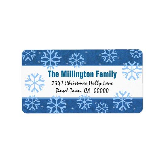 Flocons de neige bleus et blancs et houx vintage étiquette d'adresse