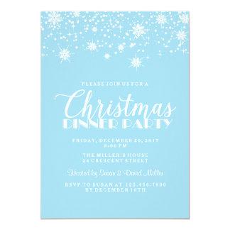 Flocons de neige bleus et dîner de Noël blanc Carton D'invitation 12,7 Cm X 17,78 Cm