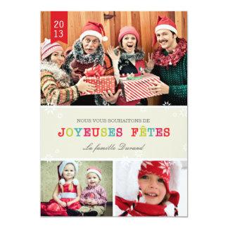 Flocons de Neige Brillants Carte de Noël Faire-part Personnalisé