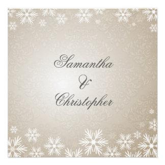 Flocons de neige et mariage damassé carton d'invitation