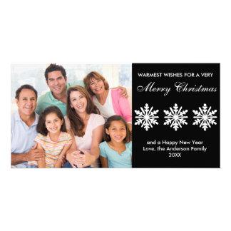 Flocons de neige noirs/blancs - carte photo photocarte personnalisée