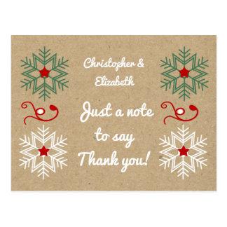 Flocons de neige personnalisés de Merci de Noël de Carte Postale