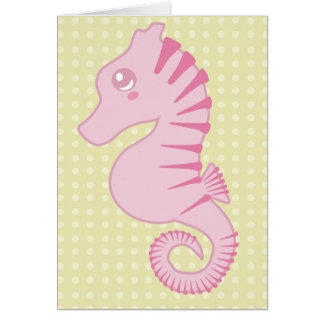 Flora la carte rose mignonne d'hippocampe