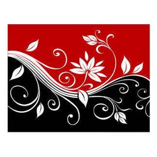 Floral blanc et noir rouge cartes postales