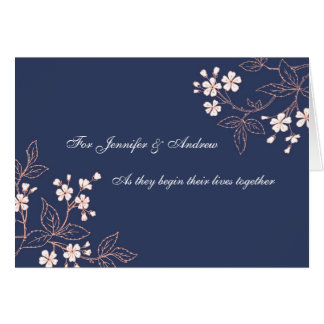 Floral bleu de carte de félicitations de mariage