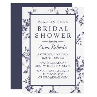Floral bleu de douche nuptiale et blanc vintage carton d'invitation  12,7 cm x 17,78 cm