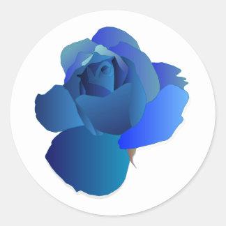 Floral bleu s'est levé sticker rond