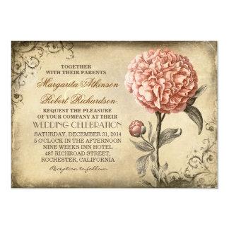 floral botanique vintage - mariage rose de pivoine carton d'invitation  12,7 cm x 17,78 cm