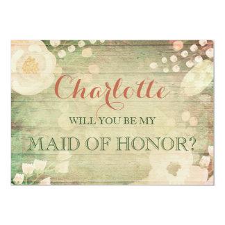 | floral chic minable vous serez ma domestique carton d'invitation  12,7 cm x 17,78 cm