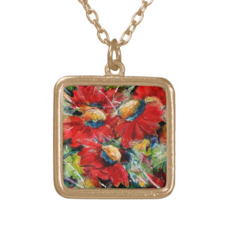 Floral Collage Collier Plaqué Or