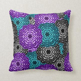 Floral gris pourpre de lavande bleue turquoise de coussin