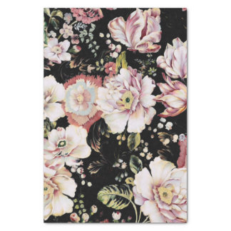 Floral noir chic minable de pays de Bohème de très Papier Mousseline