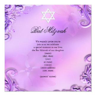 Floral rose assez pourpre de fille de bat mitzvah carton d'invitation  13,33 cm