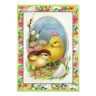 Floral victorien de poussins vintages de Pâques Faire-parts