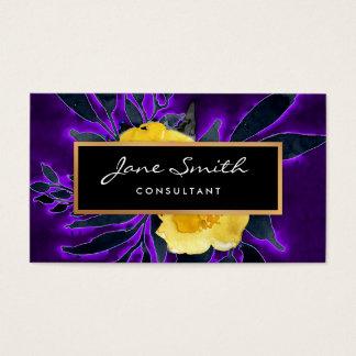 Floraux de fleurs, noirs et pourpres jaunes cartes de visite