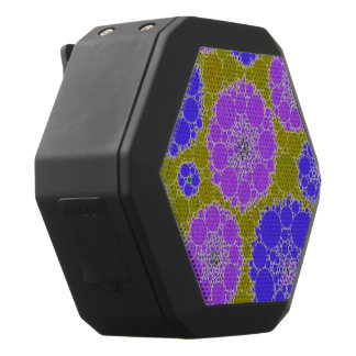 Fluorescente Blauwgroene Abstracte Bloemen Zwarte Bluetooth Speaker