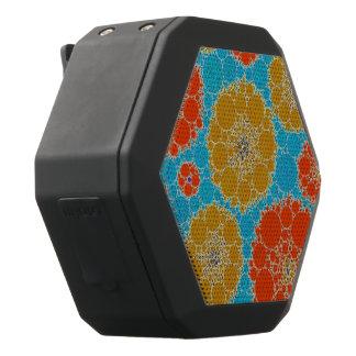 Fluorescente Turkooise Oranje Abstracte Bloemen Zwarte Bluetooth Speaker