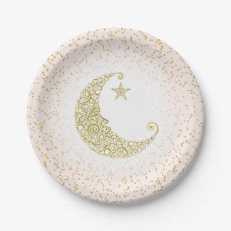 Fonkel Weinig Roze van de Maan van de Ster Gouden Papieren Bordje