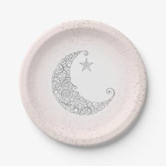 Fonkel Weinig Roze van de Maan van de Ster Papieren Bordje