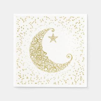 Fonkel Weinig Wit Servet van de Maan van de Ster Papieren Servet