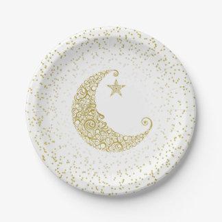 Fonkel Weinig Wit van de Maan van de Ster Gouden Papieren Bordje