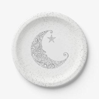 Fonkel Weinig Wit van de Maan van de Ster Zilveren Papieren Bordje
