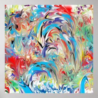 Fontaine abstraite de couleur poster