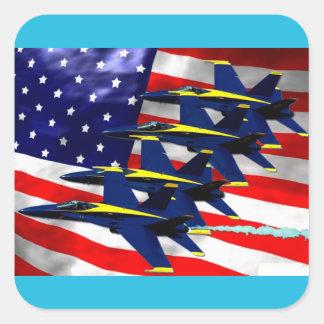Formation de jet militaire sticker carré
