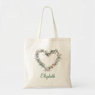 Forme de coeur de floral de remous personnalisée sac en toile budget
