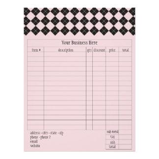 Forme d'ordre à motifs de losanges rose prospectus 21,6 cm x 24,94 cm