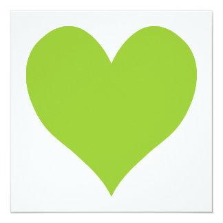 Forme mignonne vert pomme de coeur carton d'invitation  13,33 cm