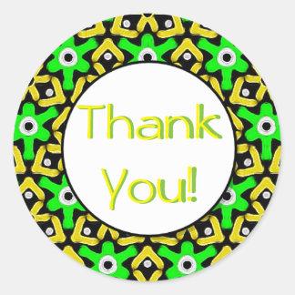 Formes abstraites d'amusement dans le Merci jaune Sticker Rond