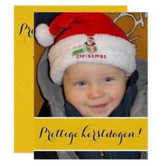 Foto kerstkaart goud 10,8x13,9 uitnodiging kaart