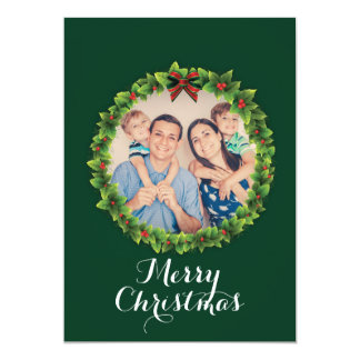 Foto van de Familie van de Kroon van Kerstmis van Kaart