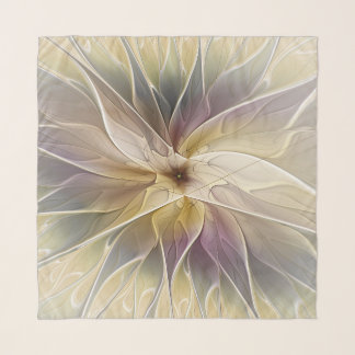Foulard Art floral de fractale d'abrégé sur aubergine d'or