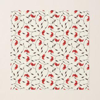 Foulard Beau motif de fleur rouge sensible