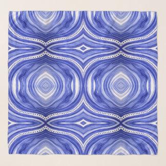 Foulard Bleu et blanc, faites les vagues, art de Marie