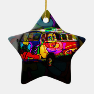 Fourgon hippie ornement étoile en céramique