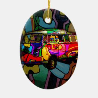 Fourgon hippie ornement ovale en céramique